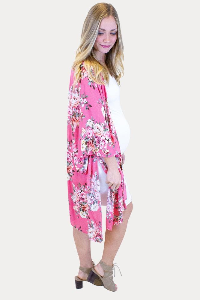 pink floral maternity kimono