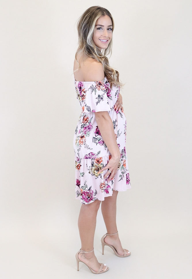 maternity mini dress with flowers