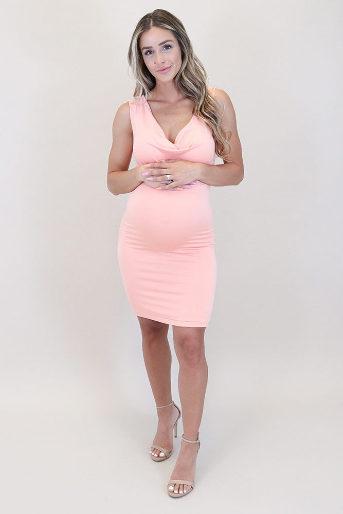 maternity cowl neck dress