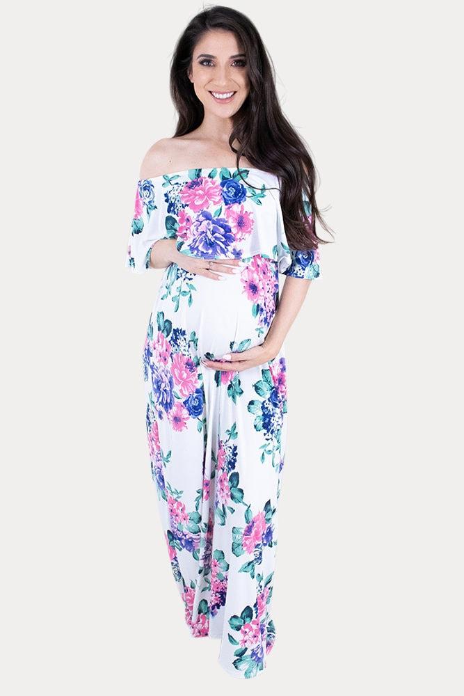 blue floral maternity maxi dress