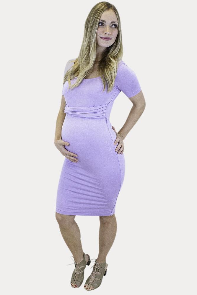 short sleeve maternity midi dress