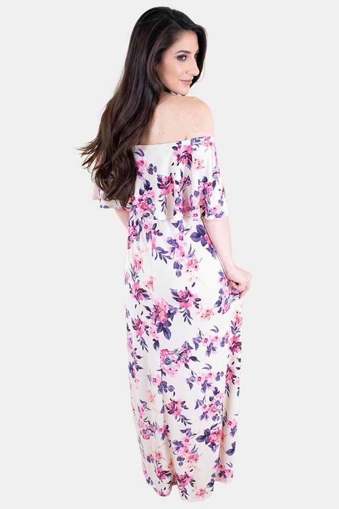 off the shoulder pregnancy maxi dress