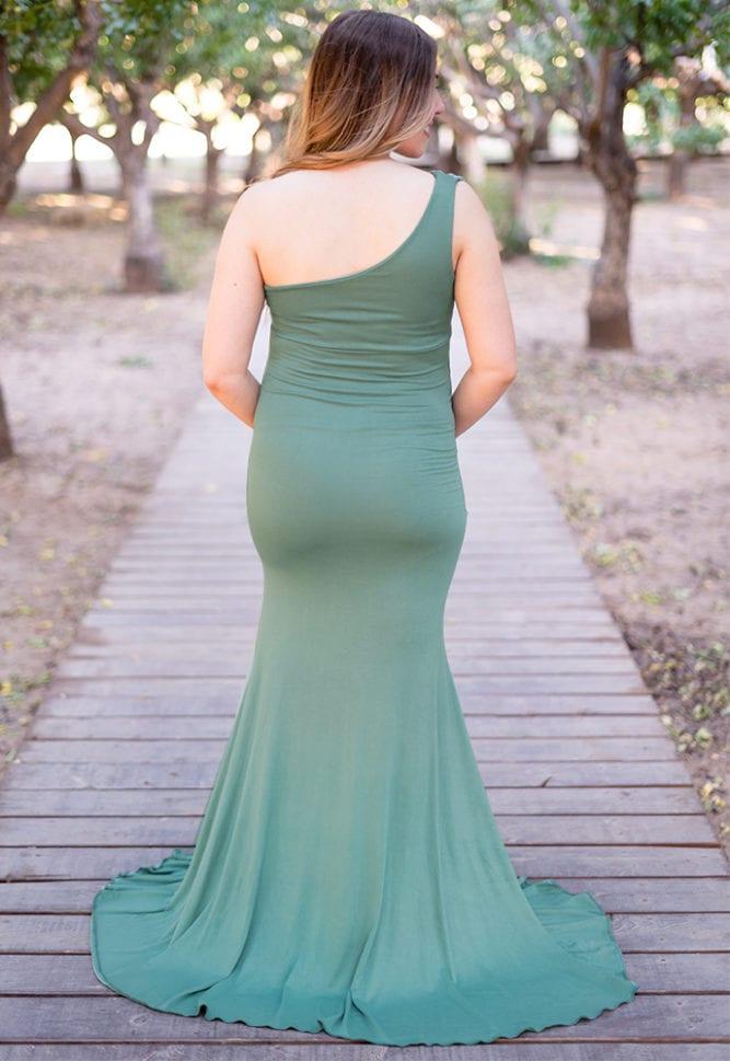 one shoulder pregnancy gown