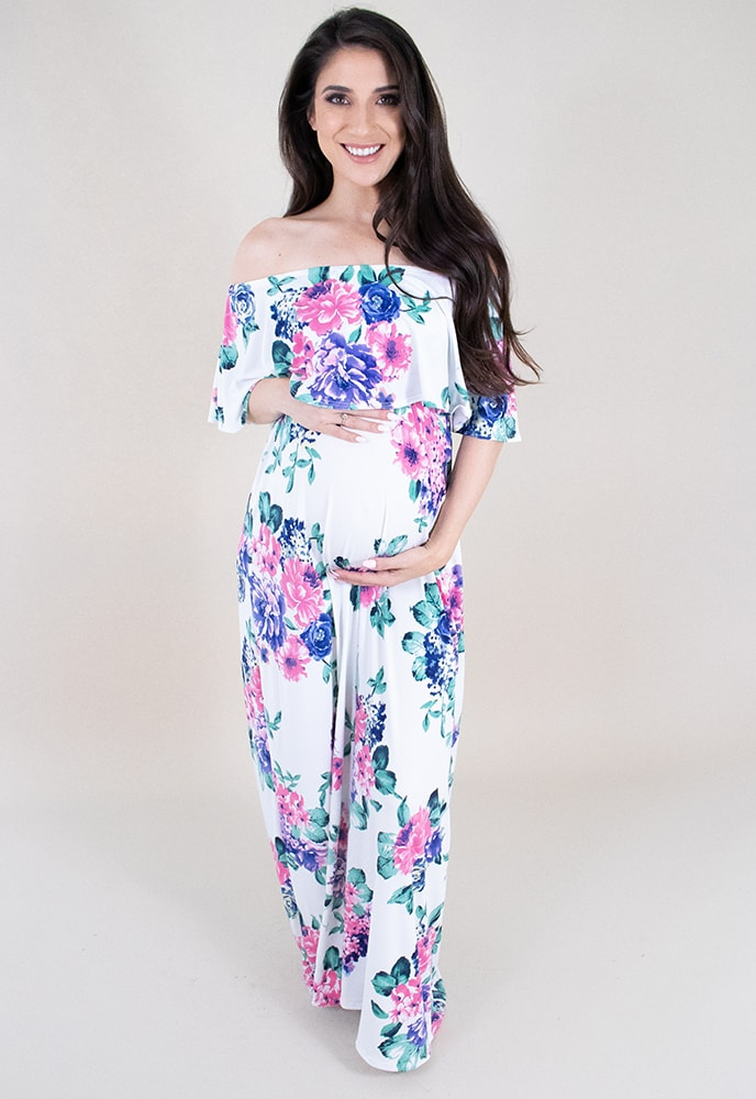 51ca470ef351d Off the Shoulder Maternity Maxi Dress - Sexy Mama Maternity