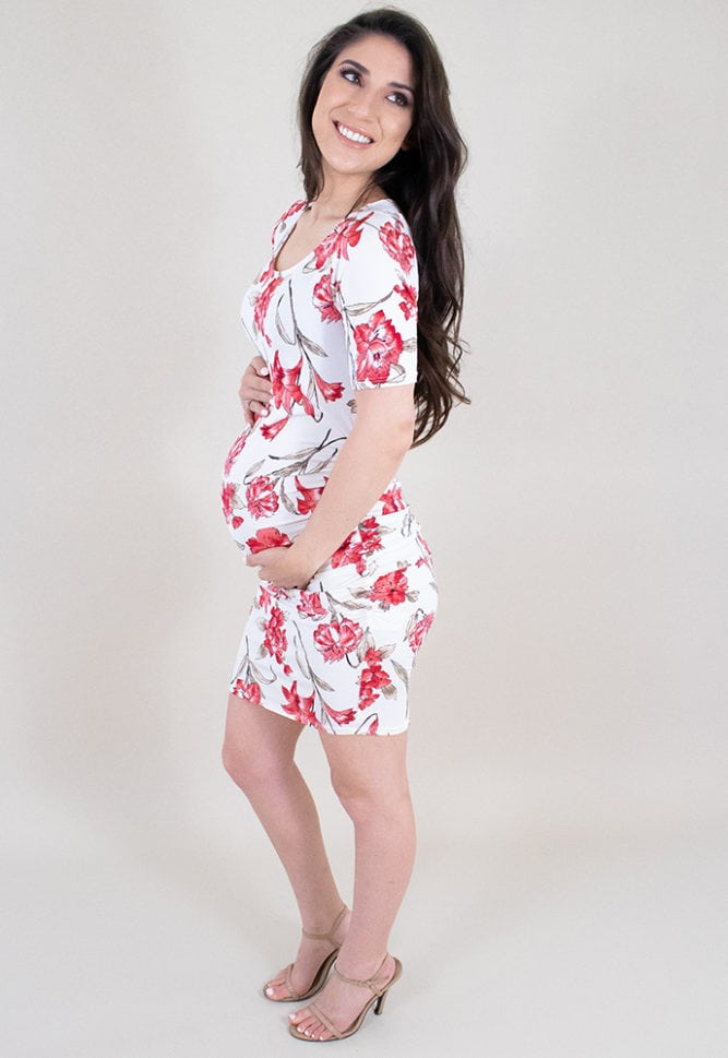 short sleeve floral maternity dress