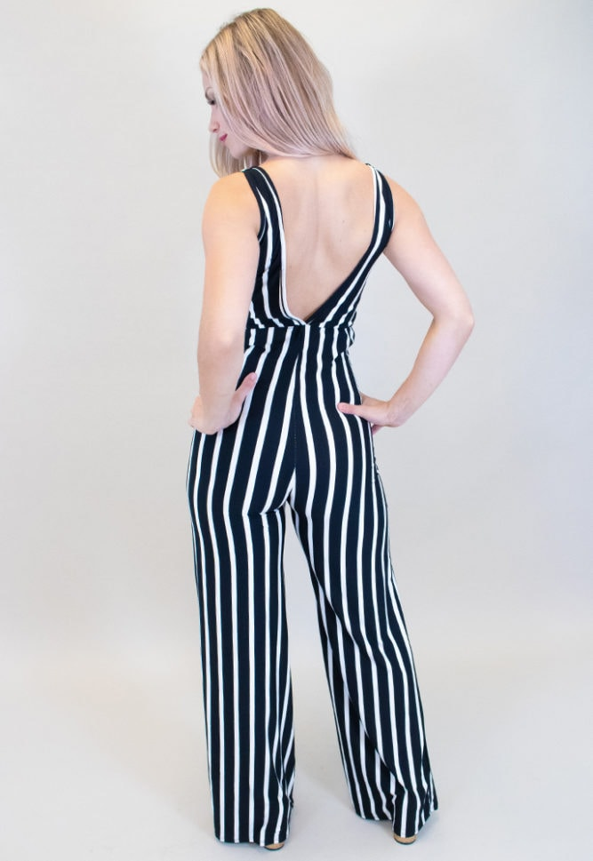 black striped maternity jumpsuit