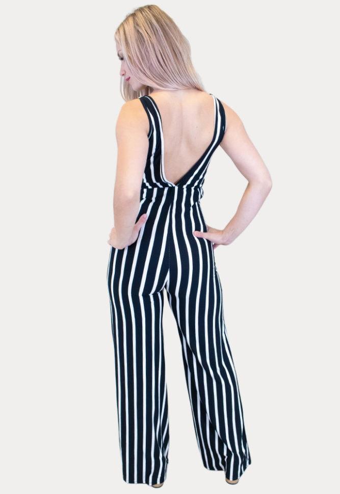 black striped maternity jumpsuit