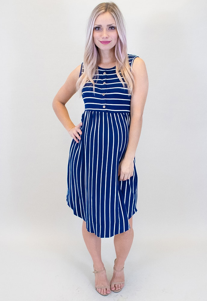 ca79a385c1488 Navy Striped Maternity Dress - Sexy Mama Maternity