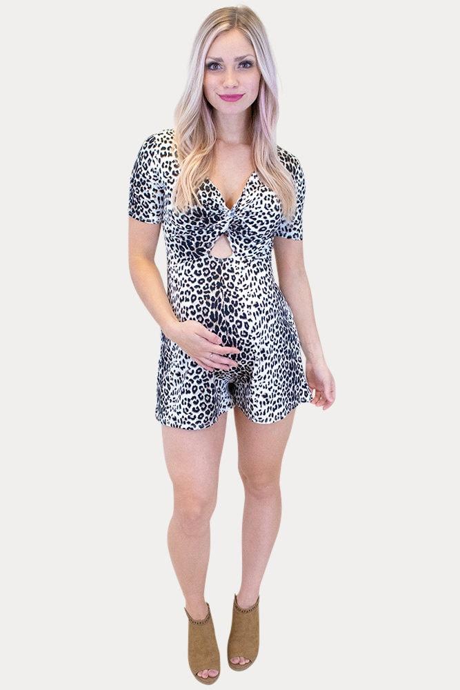 leopard print maternity romper