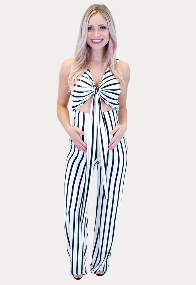 white striped maternity jumpsuit