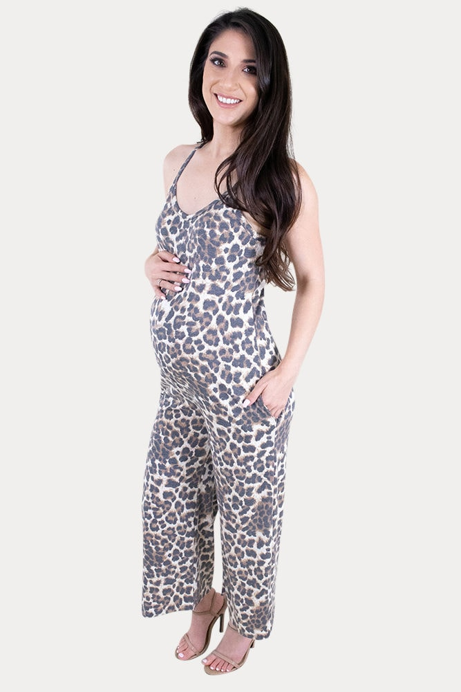 leopard print maternity jumpsuit