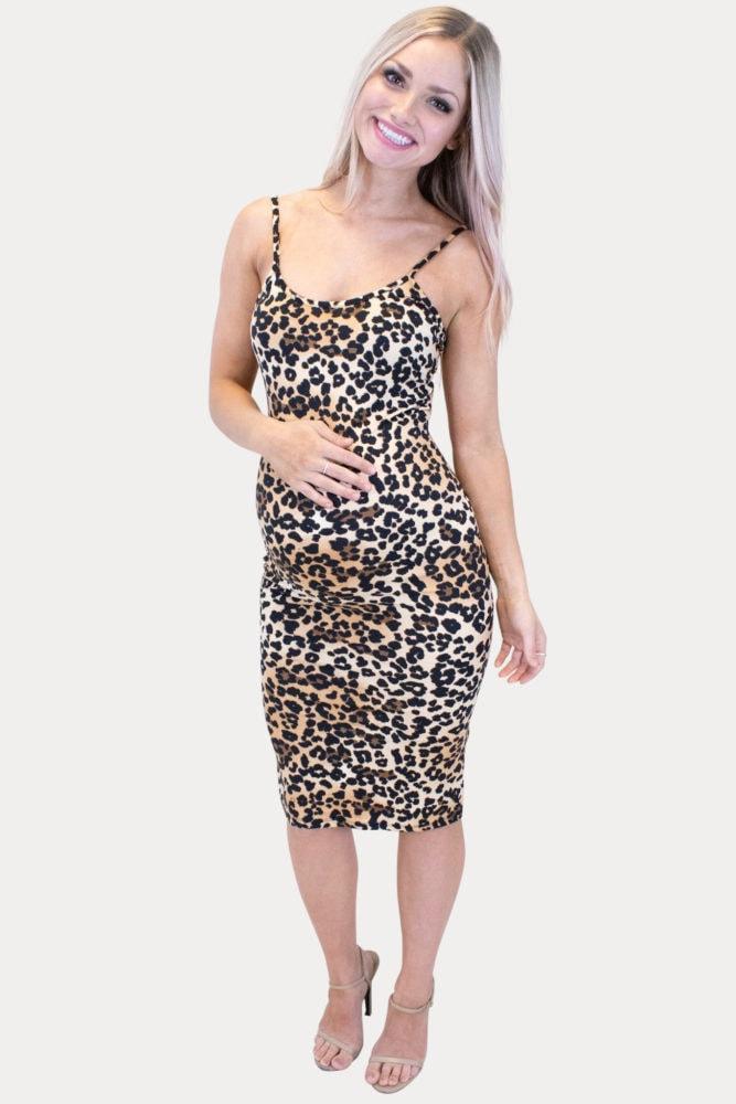 leopard print pregnancy dress