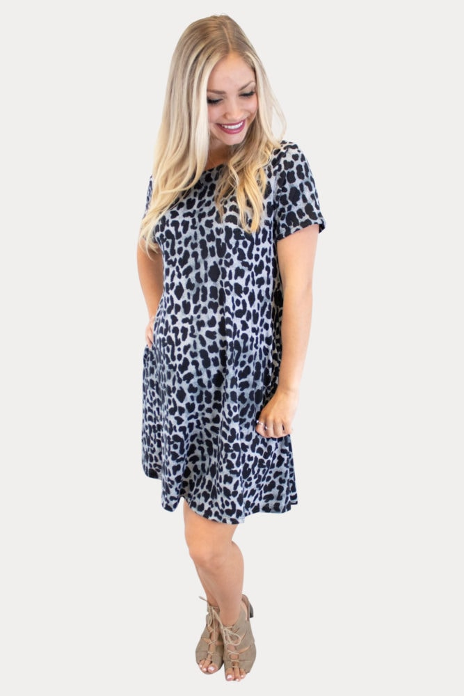 Black and White Leopard Maternity Dress
