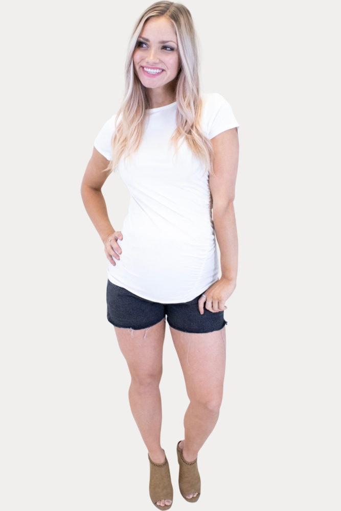 black maternity jean shorts