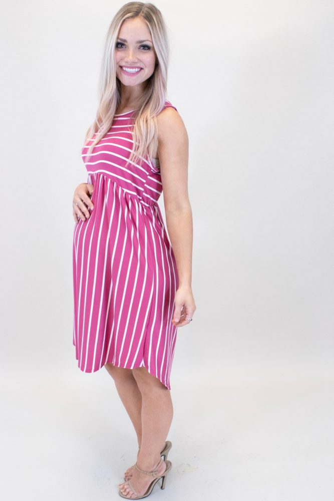 pink striped maternity dress