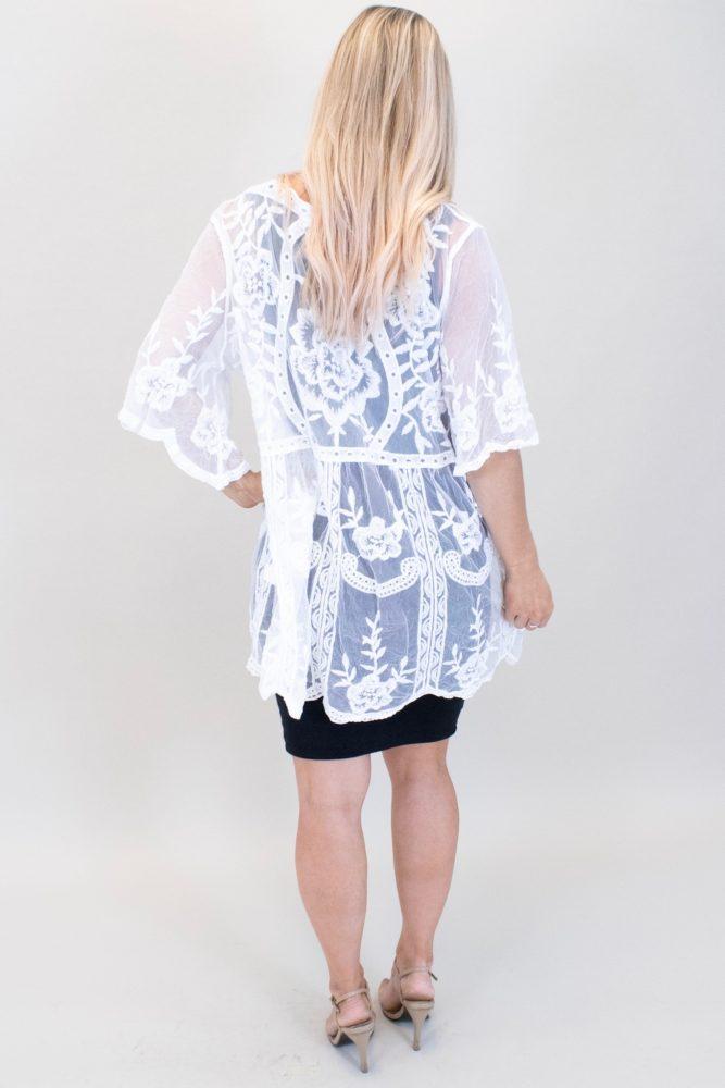 white lace maternity kimono