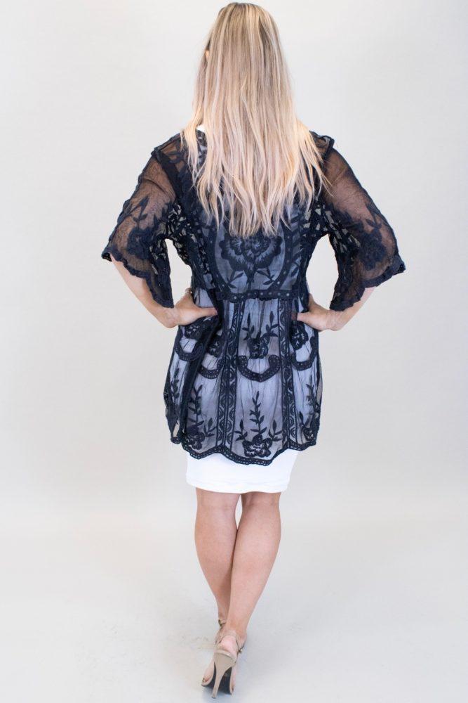 black lace maternity kimono
