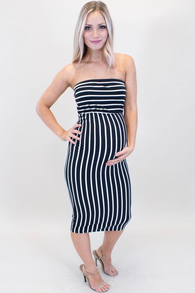 Strapless Striped Maternity Bodycon