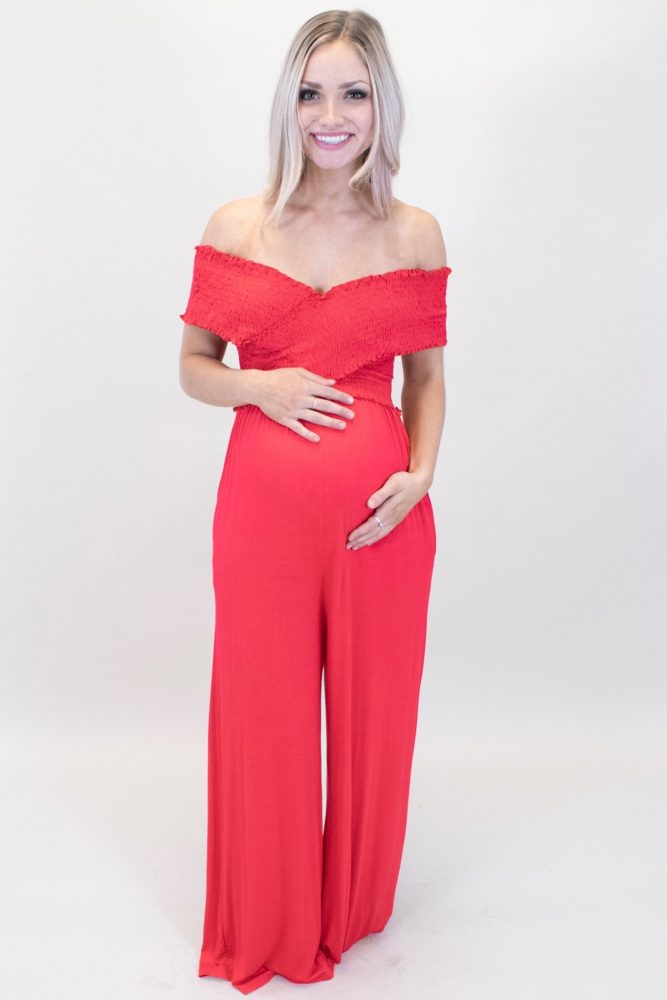 red maternity jumpsuit