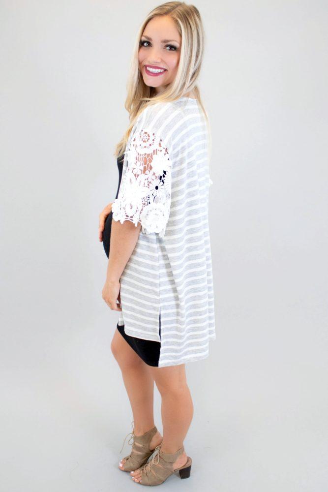 striped maternity kimono