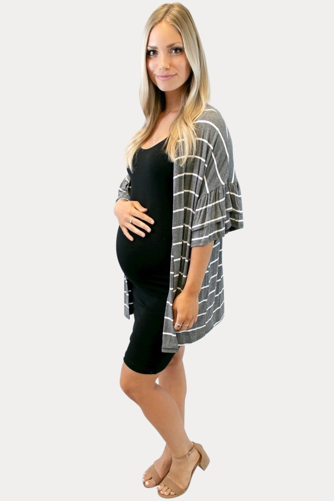 grey striped maternity kimono