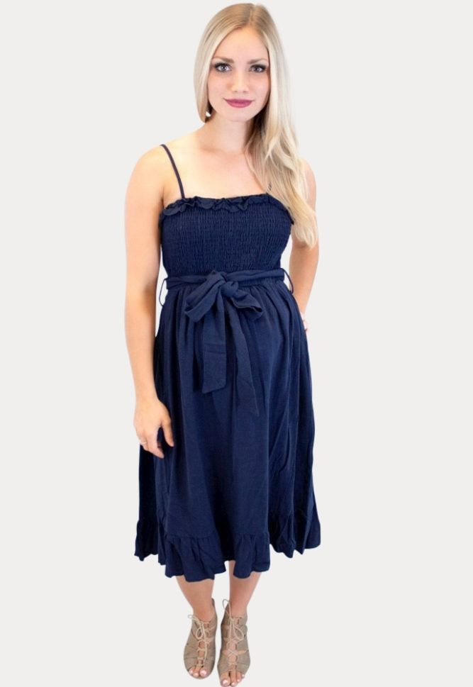 maternity dress with a tied bow