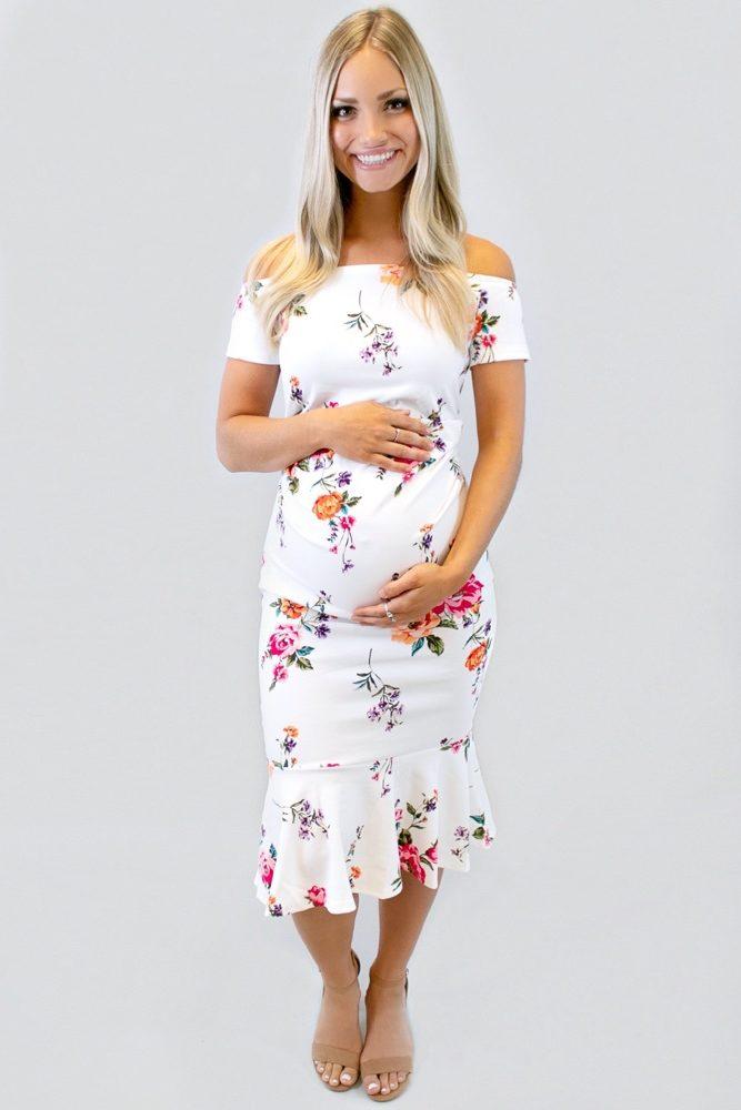 white floral pregnancy dress