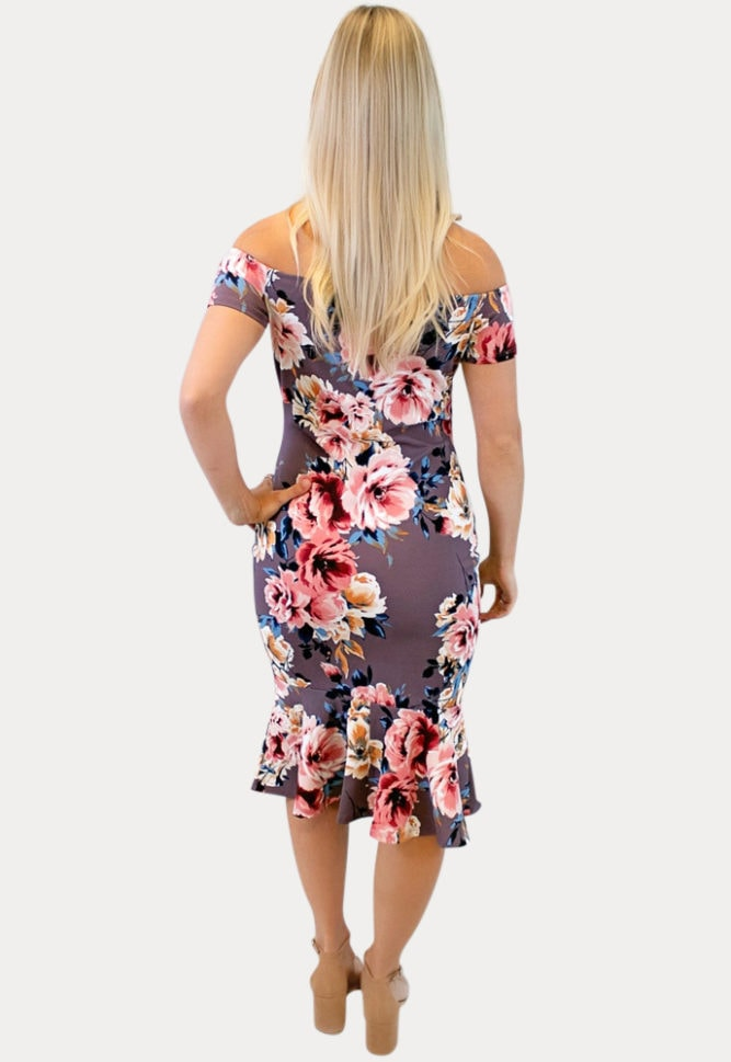 off the shoulder mauve maternity dress