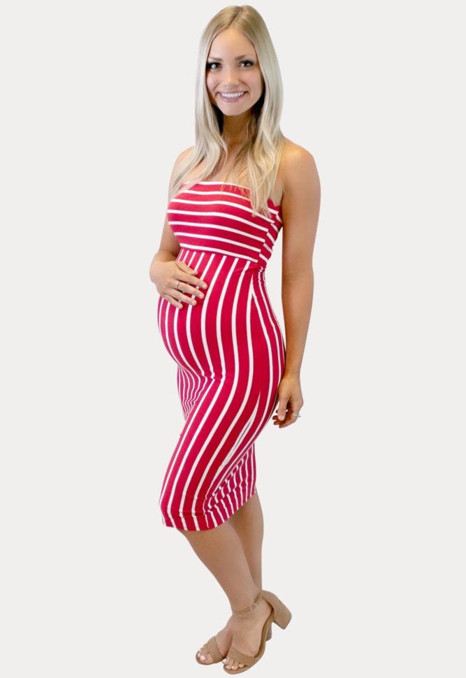 Red Striped Maternity Bodycon