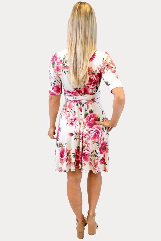cream floral maternity dress