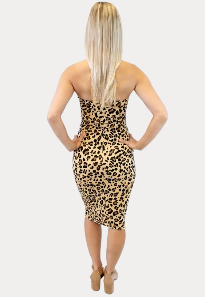 strapless leopard print maternity dress