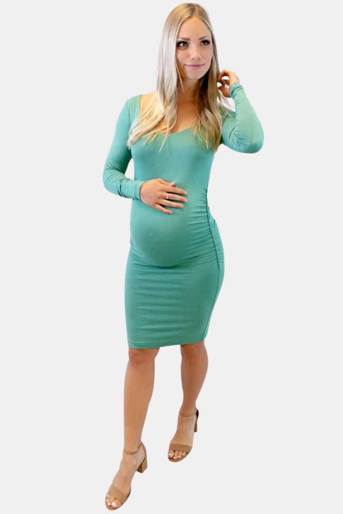 long sleeve ruched maternity dress