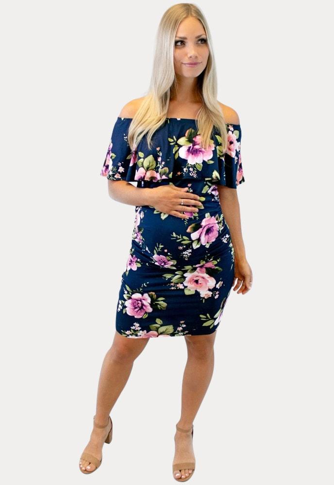 navy blue floral maternity dress