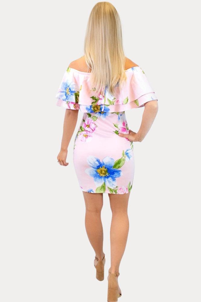 blush floral maternity dress