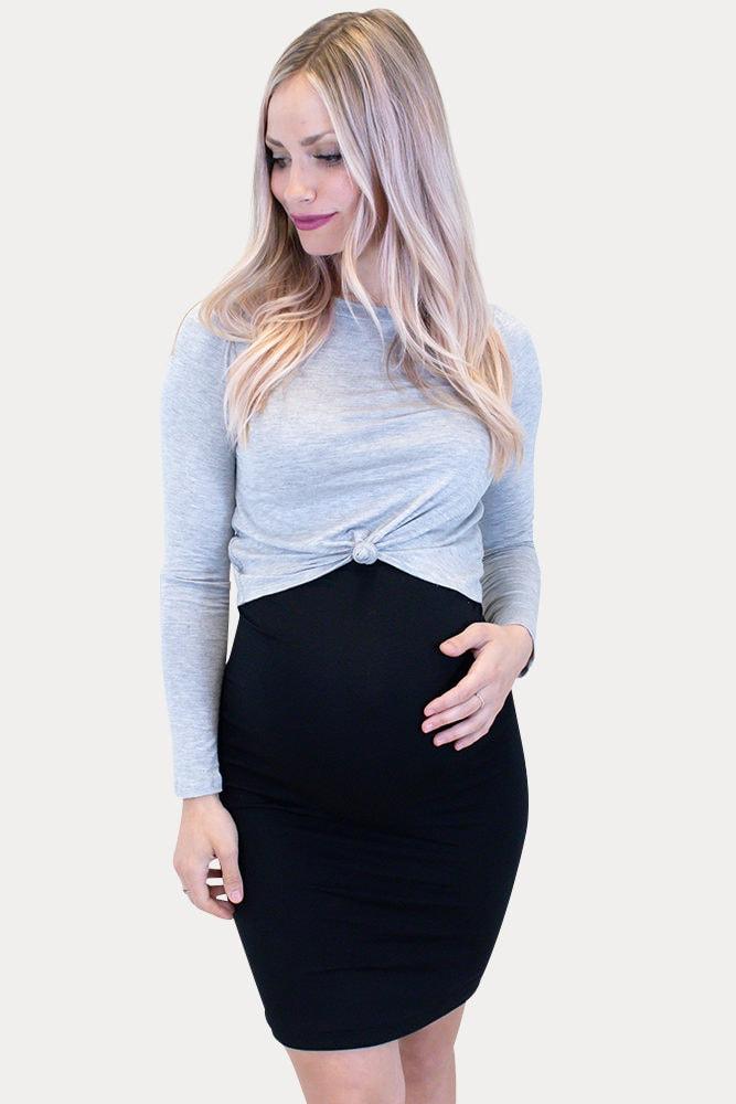 grey maternity crop top