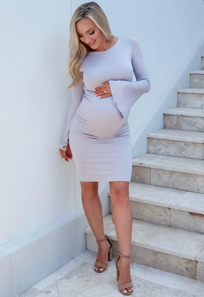boat neck bell sleeve maternity dress