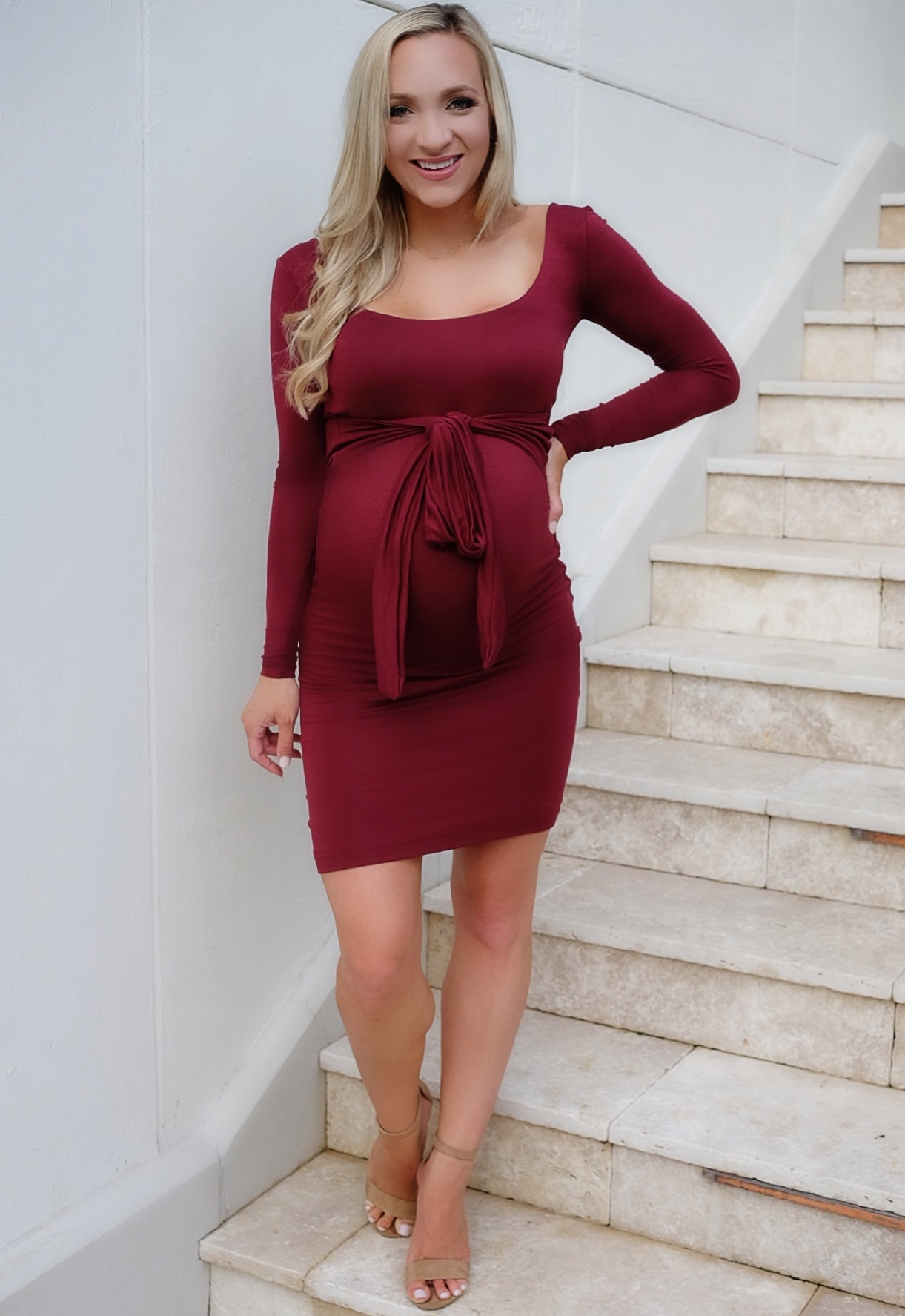 Tie Front Maternity Dress With Long Sleeves Sexy Mama Maternity