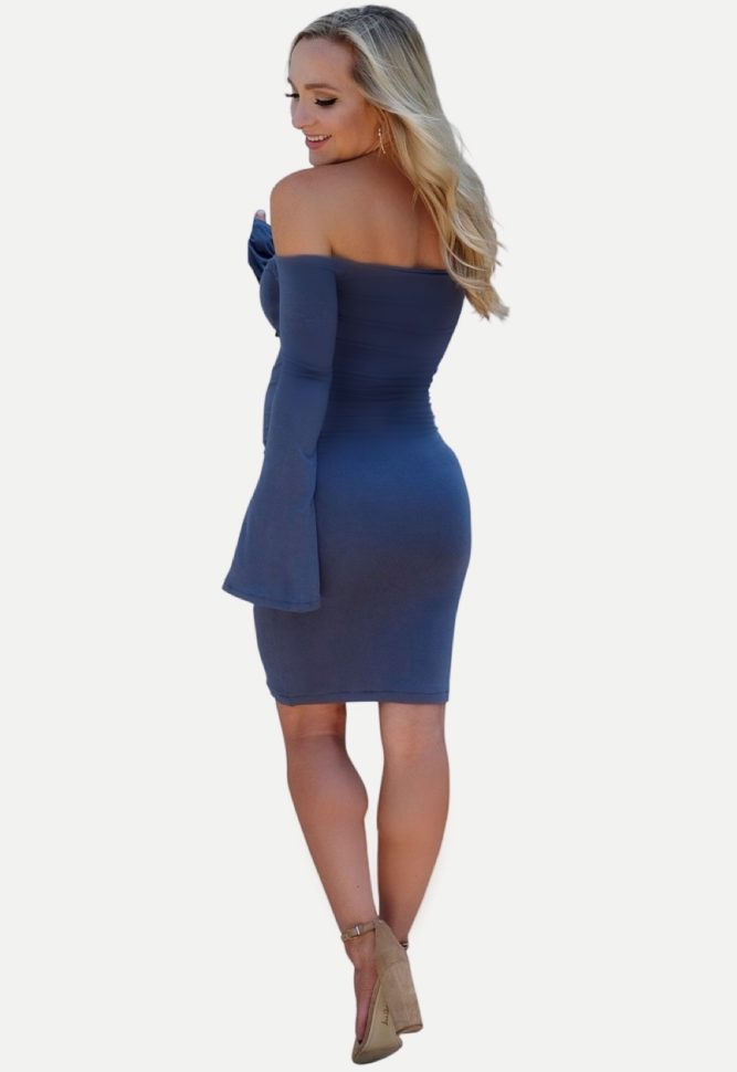 off shoulder bell sleeve maternity bodycon