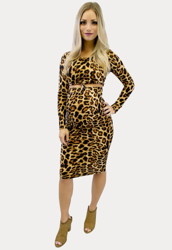 Leopard print skirt crop maternity outfit