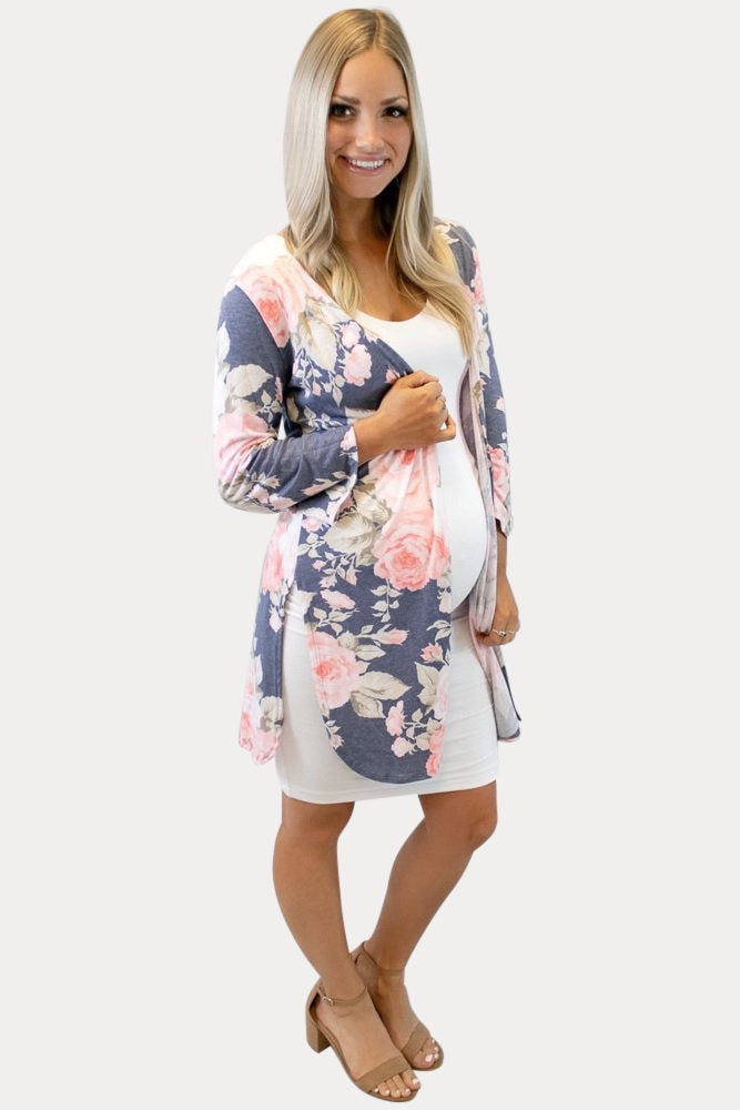 pink rose maternity kimono