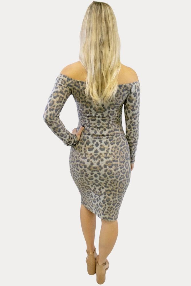 off shoulder Leopard maternity dress