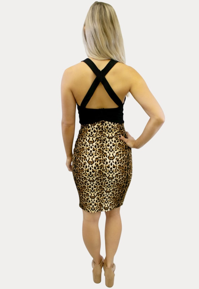 leopard cutout maternity dress