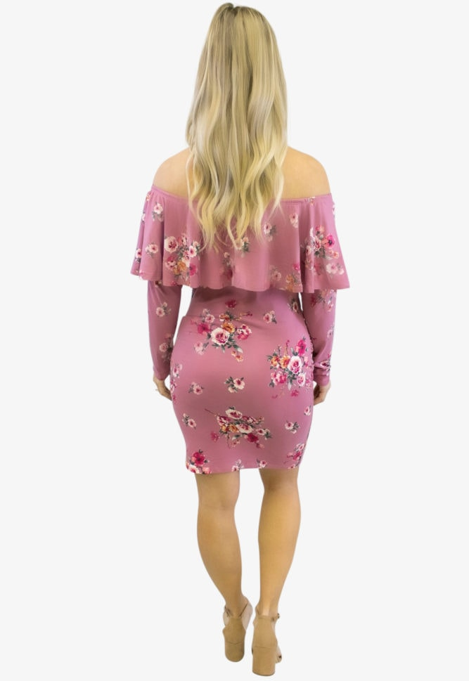 mauve floral maternity dress