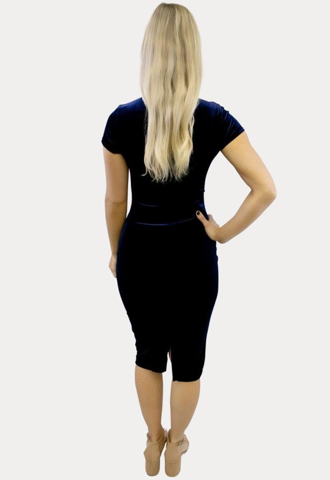 Mightnight Blue Velvet Maternity Dress