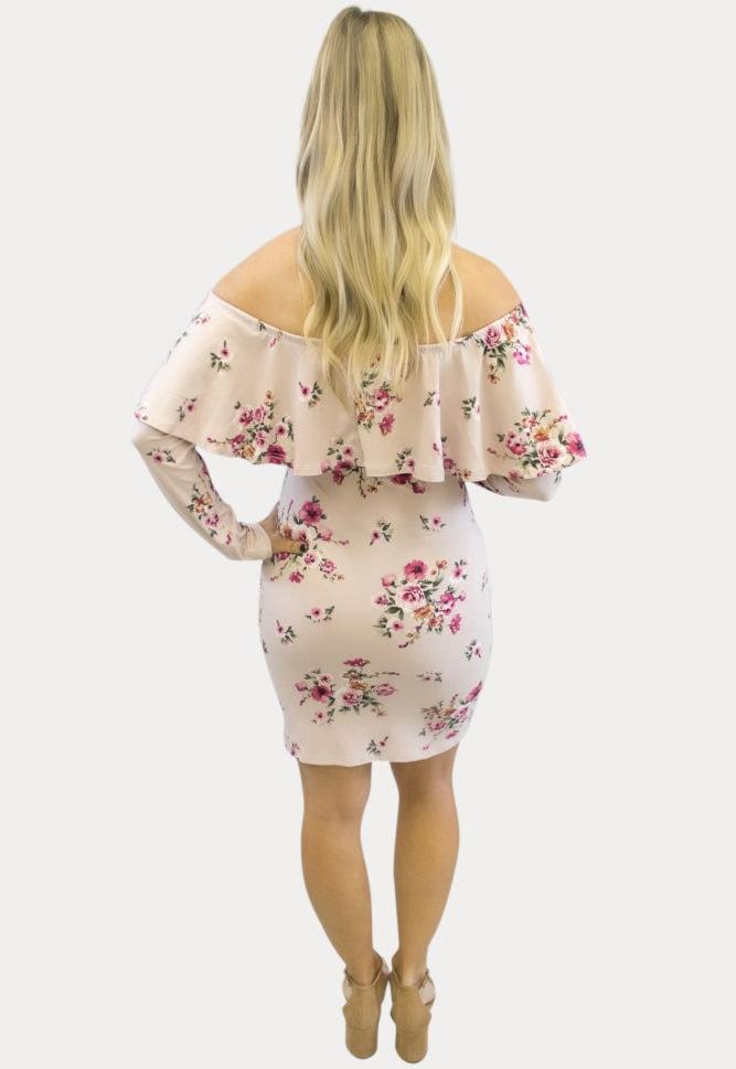 blush pink floral maternity dress