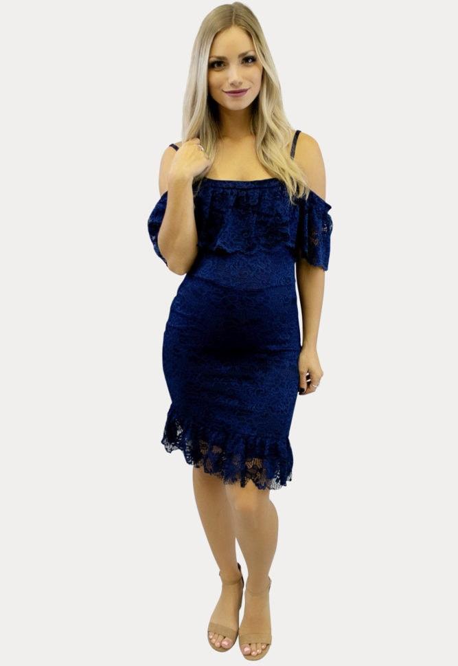 off shoulder lace maternity dress