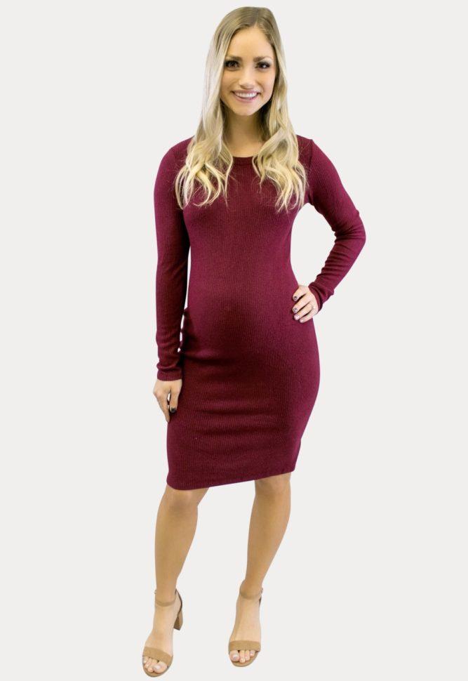 Long Sleeve Ribbed Mini Dress in Burgundy