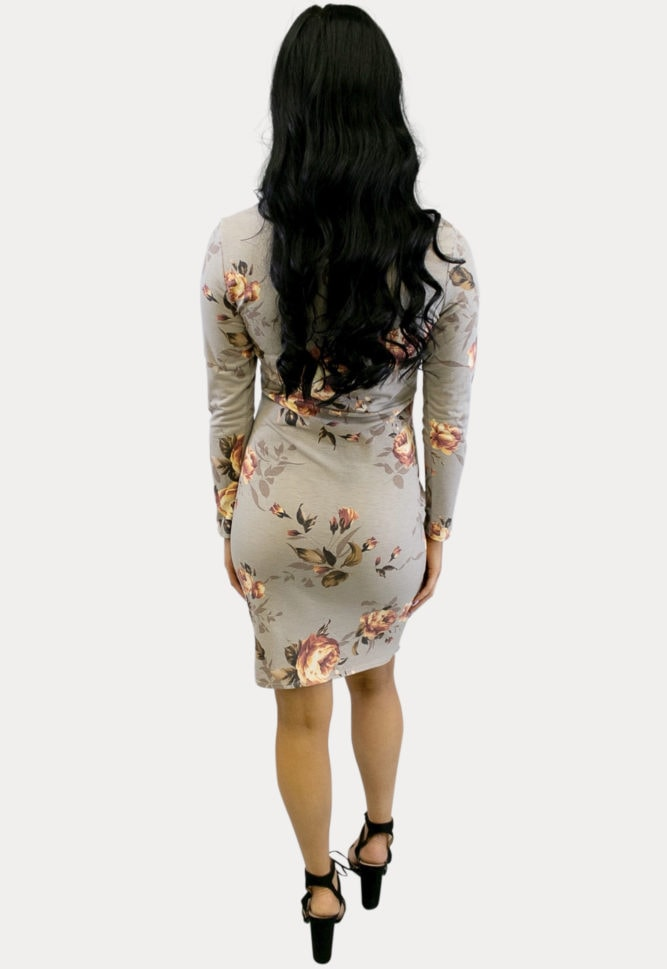 taupe floral maternity dress
