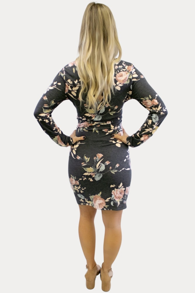 charcoal floral maternity dress