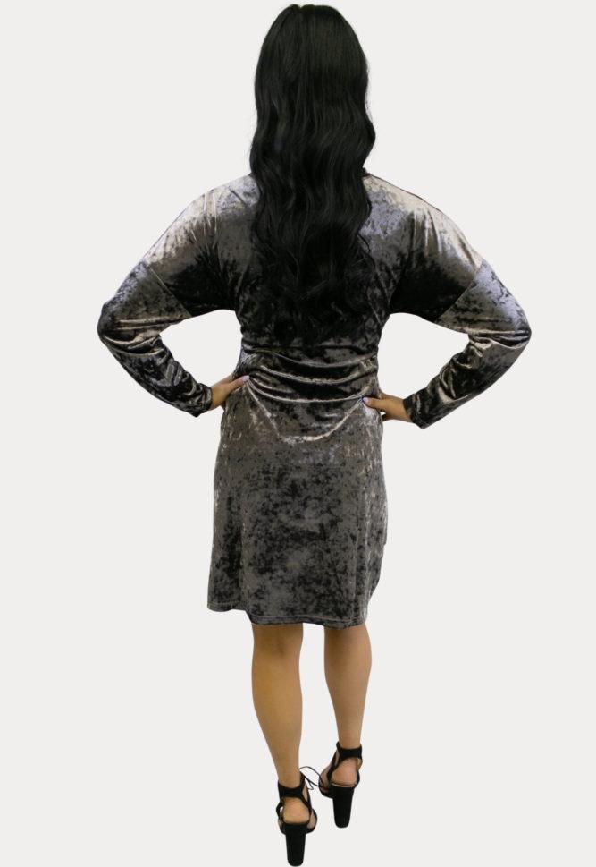 grey velvet maternity dress
